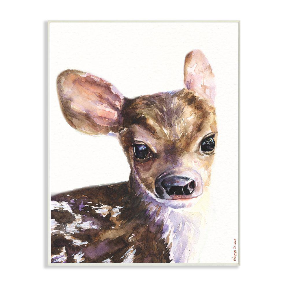 10 in. x 15 in. ''Cute Baby Deer'' by George Dyachenko Wood Wall Art