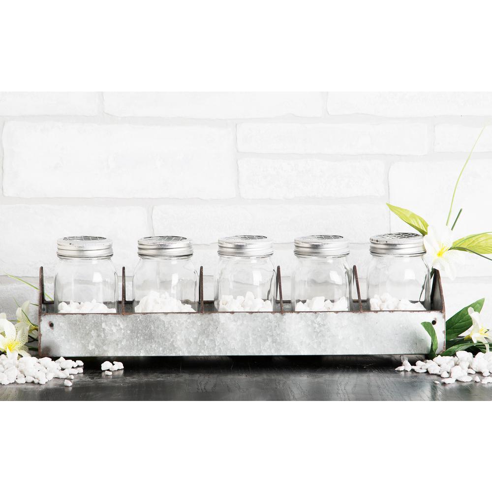 HOME ESSENTIALS & BEYOND 5-Piece Glass Mason Jar on Galvanized Tray by HOME ESSENTIALS & BEYOND
