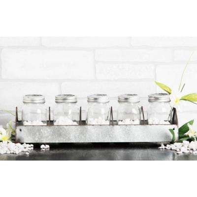 5-Piece Glass Mason Jar on Galvanized Tray