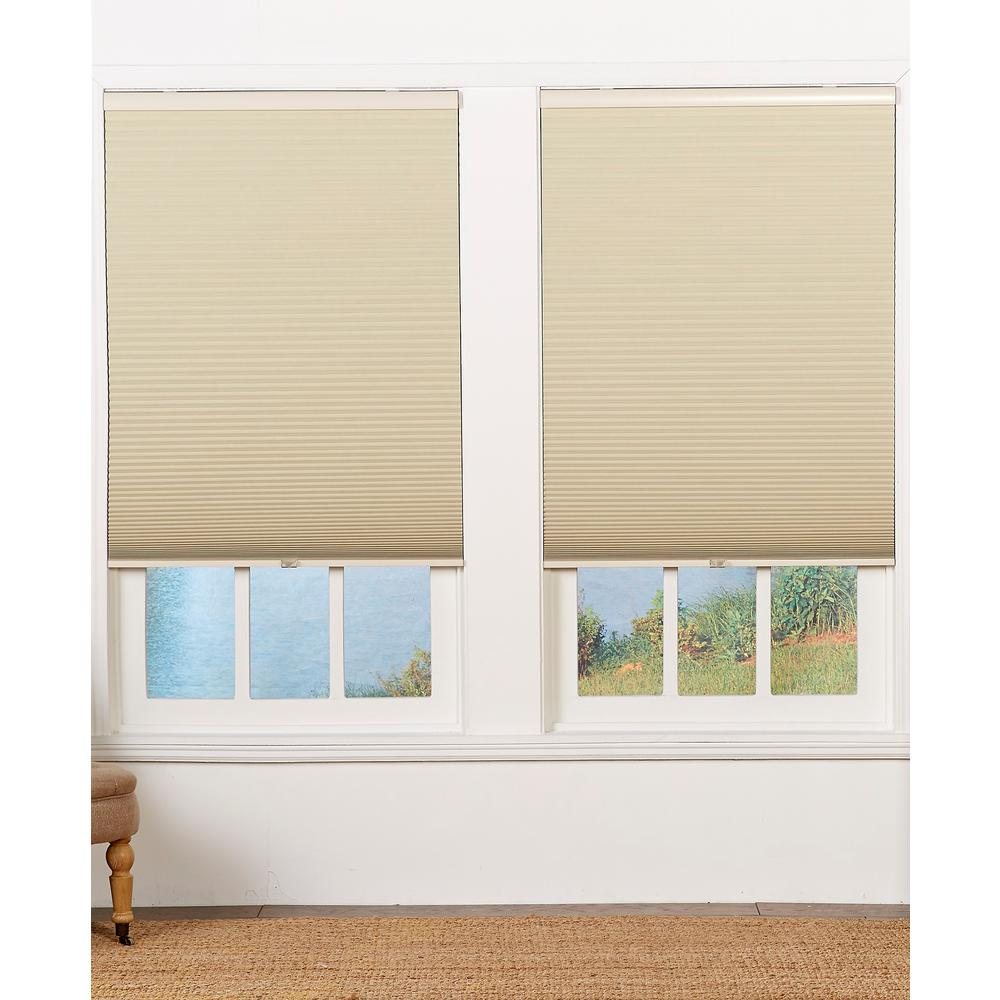 Perfect Lift Window Treatment Cut To Width Tan 1 5in Blackout Cordless Cellular Shade 22 5in W X 72in L Actual Size 22 5in W X 72in L Qetnwt224720 The Home Depot