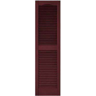 15 in. x 55 in. Louvered Vinyl Exterior Shutters Pair in #078 Wineberry