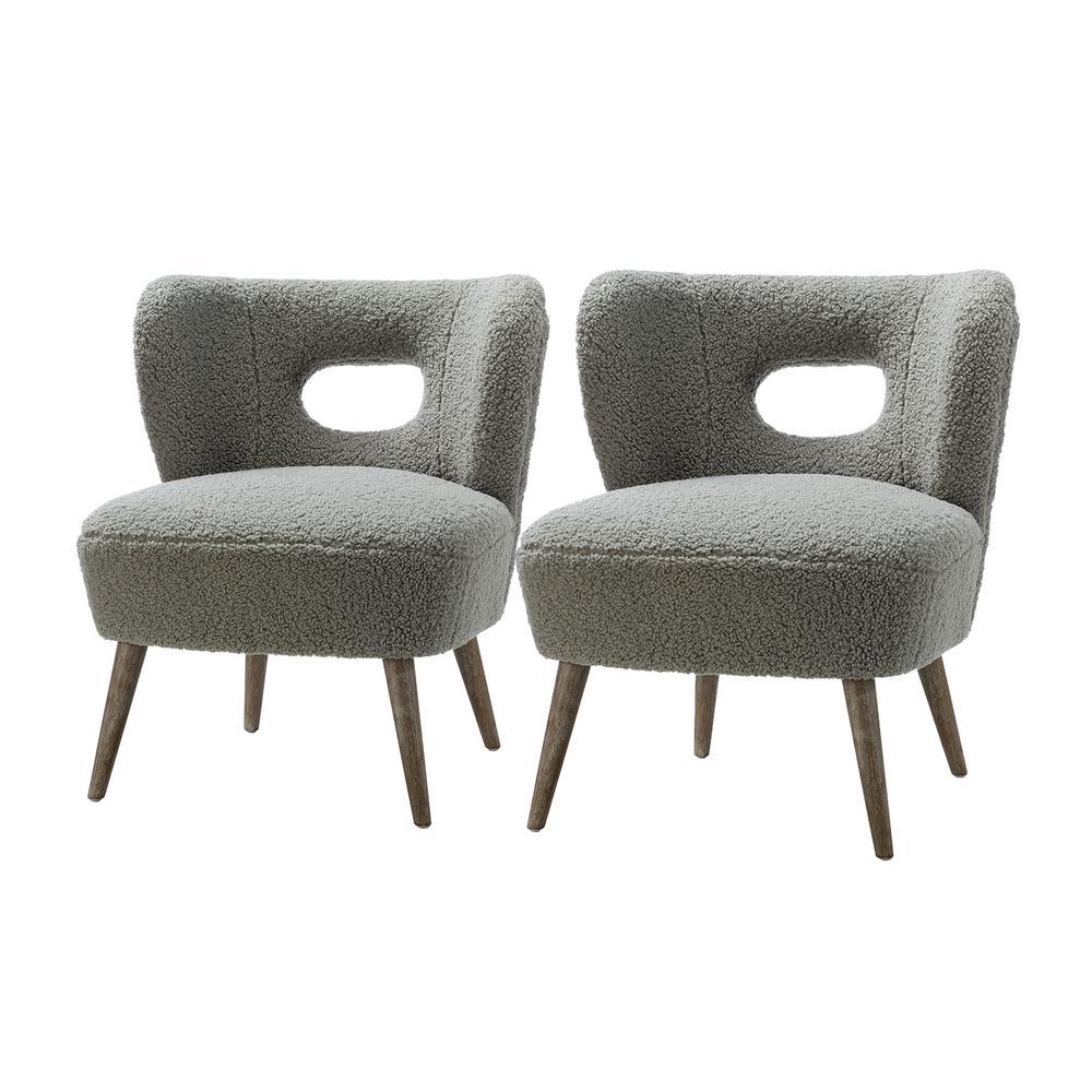 Mini Grey Vegan Lambskin Sherpa Upholstery Barrel Chair (Set of 2)
