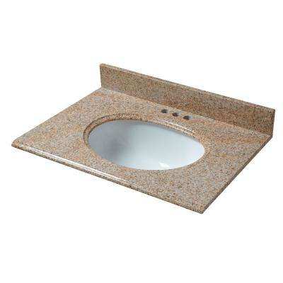 25 in. W x 22 in. D Granite Vanity Top in Beige with White Basin