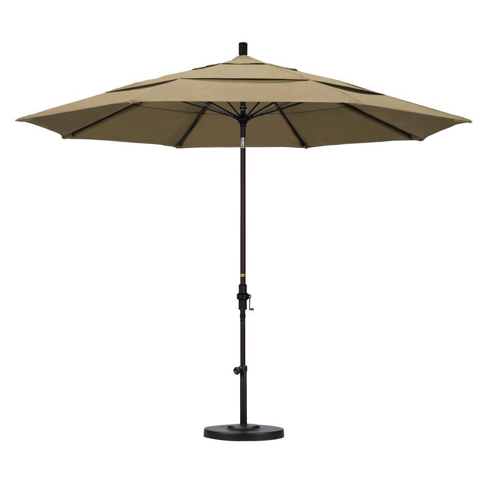 1537e8af3ced California Umbrella 11 ft. Bronze Aluminum Pole Market Fiberglass Collar  Tilt Crank Lift Outdoor Patio Umbrella in Heather Beige Sunbrella