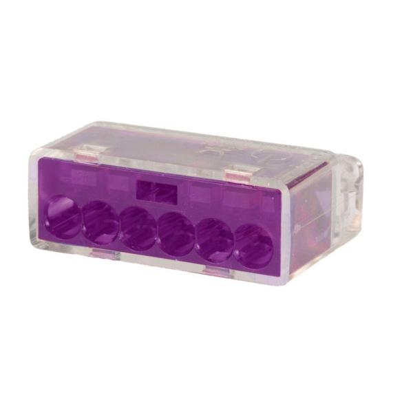 Purple 6 Port Push-In Wire Connector (50-Pack)