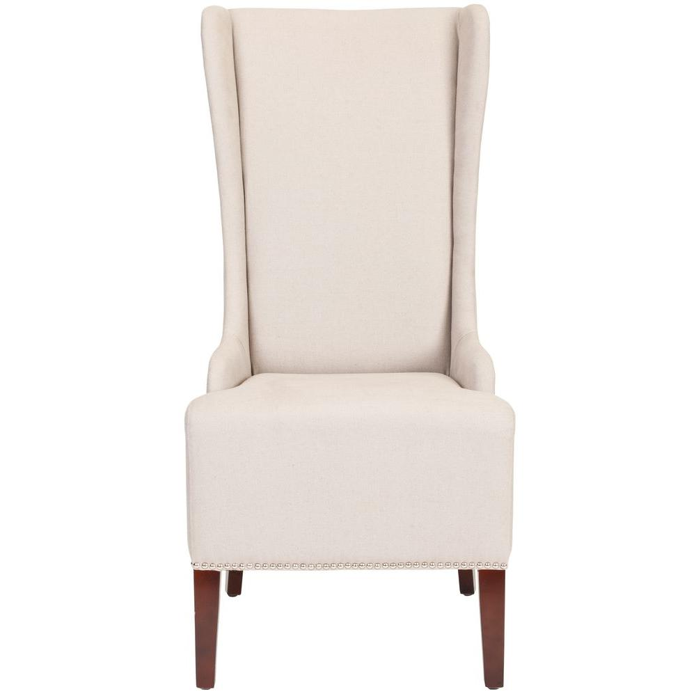 Superb Safavieh Bacall Taupe Linen Dining Chair