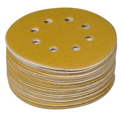 6 in. 8-Hole 150-Grit Hook and Loop Sanding Discs in Gold (50-Pack)