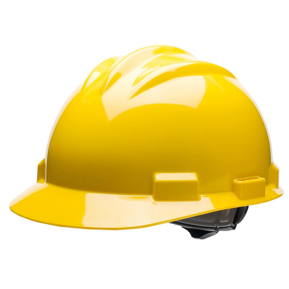 Yellow 4 Point Ratchet Suspension Cap Style Hard Hat