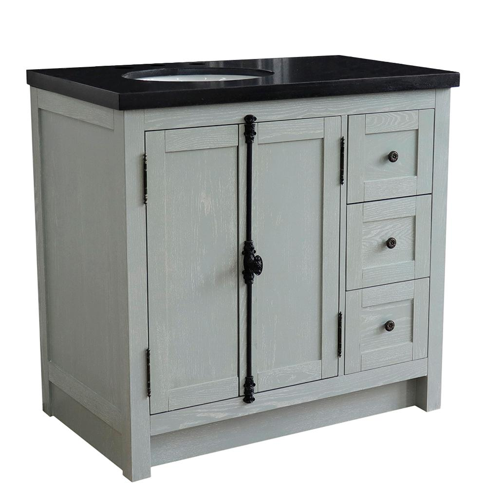 Bellaterra Home Plantation 37 in. W x 22 in. D x 36 in. H Bath Vanity in Gray Ash with Black Granite Vanity Top and Left Side Oval Sink