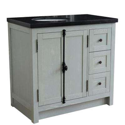 Plantation 37 in. W x 22 in. D x 36 in. H Bath Vanity in Gray Ash with Black Granite Vanity Top and Left Side Oval Sink