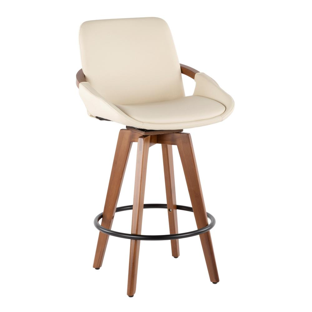 Lumisource Cosmo 26 In Walnut And Cream Faux Leather Counter Stool