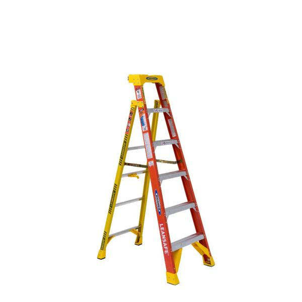 LEANSAFE 6 ft. Fiberglass Leaning Step Ladder with 300 lb. Load Capacity Type IA Duty Rating