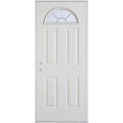32 in. x 80 in. V-Groove Fan Lite 4-Panel Painted White Right-Hand Inswing Steel Prehung Front Door