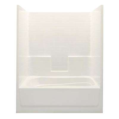 Everyday Smooth Tile 60 in. x 36 in. x 76 in. 1-Piece Bath and Shower Kit with Right Drain in Bone