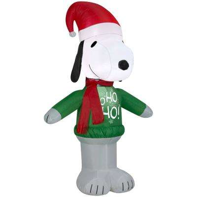 42 in. Inflatable Airblown Snoopy with Ho Ho Ho Sweater