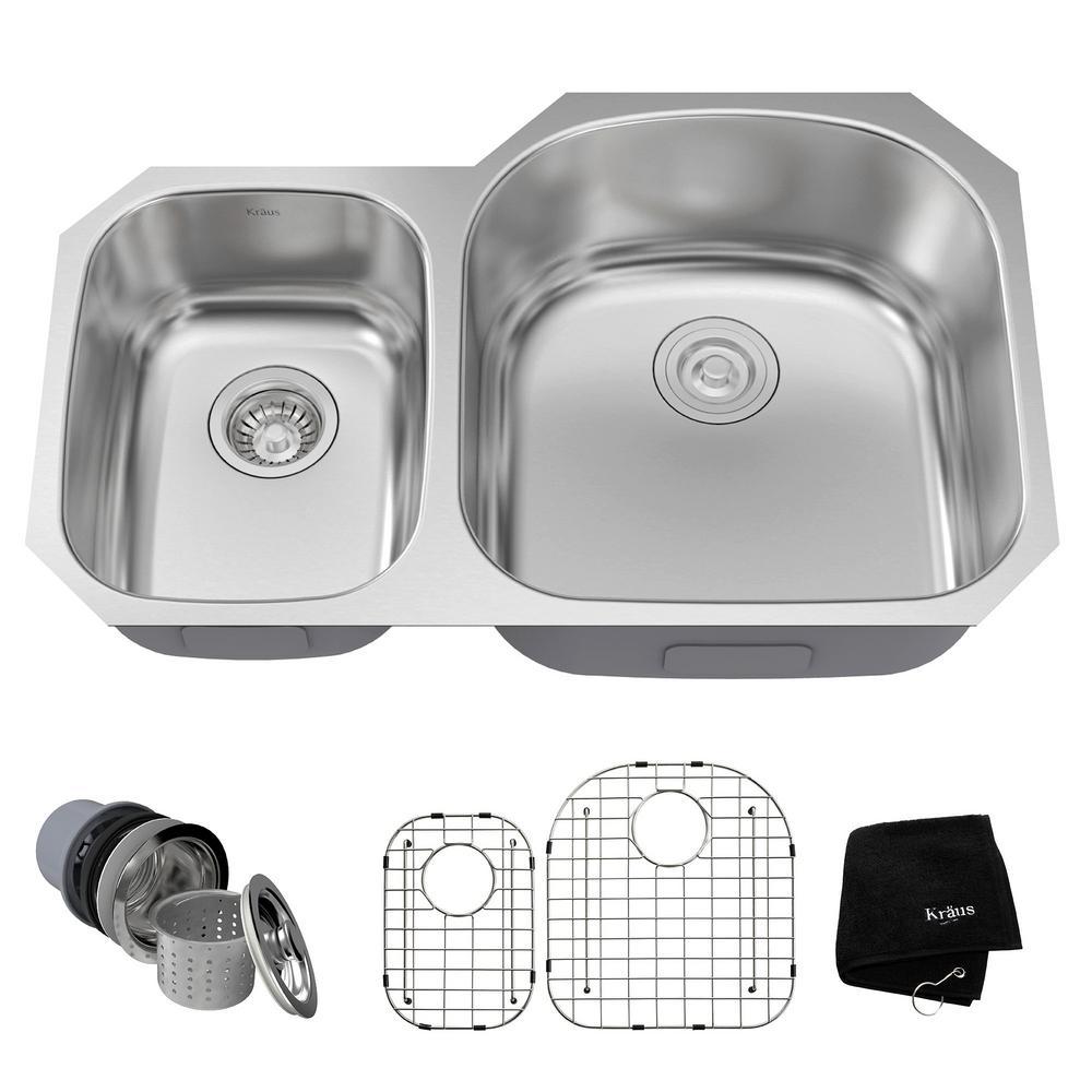Undermount Stainless Steel 32 in. 40/60 Double Basin Kitchen Sink Kit