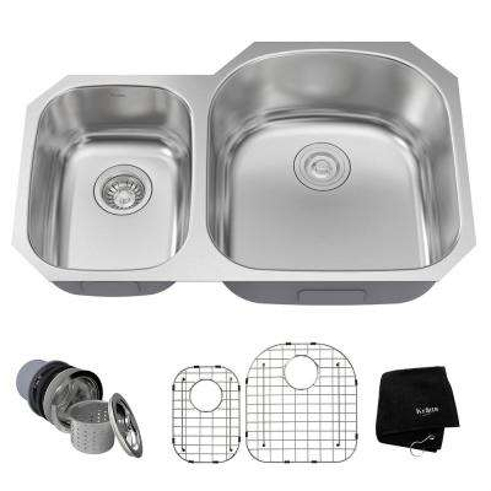 Drop-In/Undermount Stainless Steel 32 in. 40/60 Double Bowl Kitchen Sink Kit