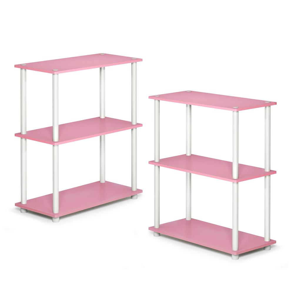 Turn-N-Tube 3-Shelf Compact Pink Open Bookcase (Set of 2)