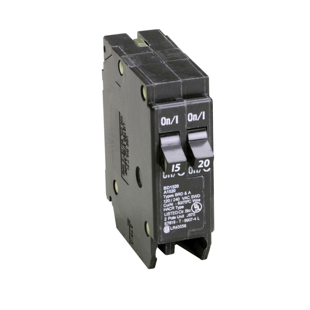 Eaton BD 1-15 Amp 1-20 Amp Single Pole Tandem CTL Circuit Breaker ...