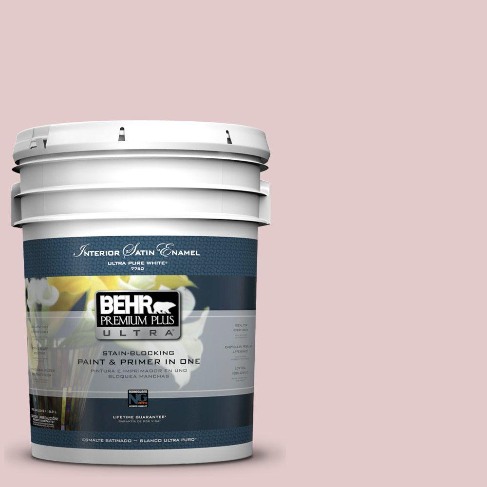 5 gal. #160E-2 Pink Water Satin Enamel Interior Paint and Primer