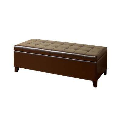 Mission Brown Large Storage Ottoman Bench