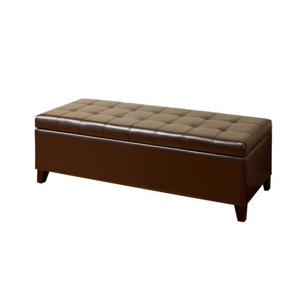 Noble House Mission Brown Large Storage Ottoman Bench