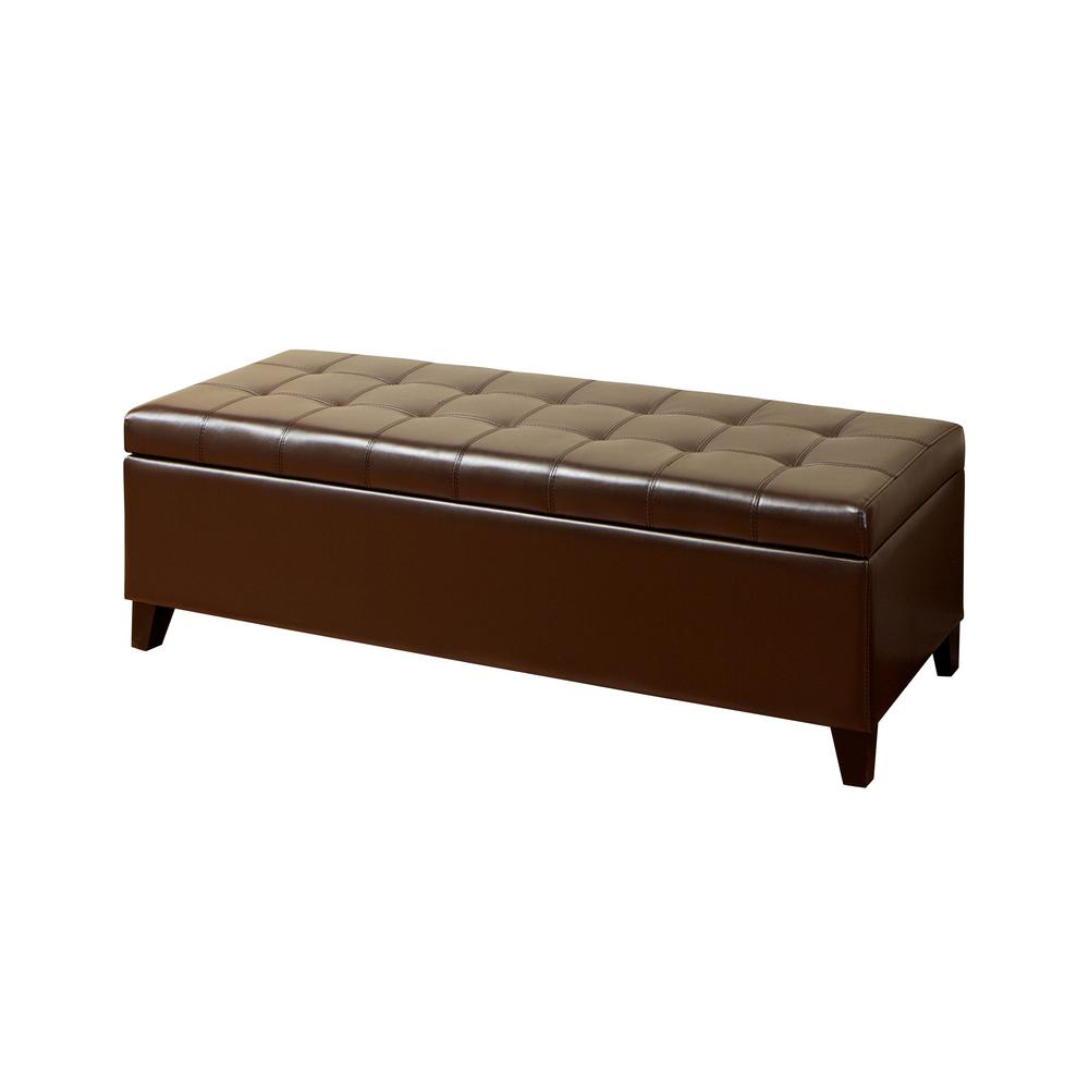 Le House Mission Brown Large Storage Ottoman Bench 389