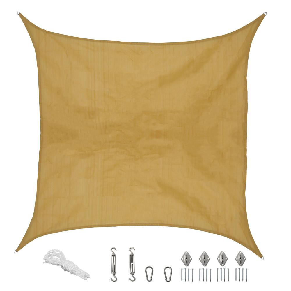 12 ft. x 12 ft. Beige Square Sun Shade Sail with
