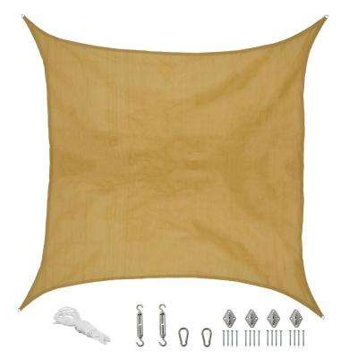12 ft. x 12 ft. Beige Square Sun Shade Sail with Hanging Hardware