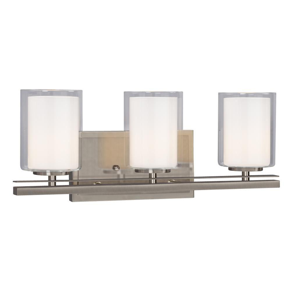 Donovan 3-Light Brushed Nickel Bath Vanity Light