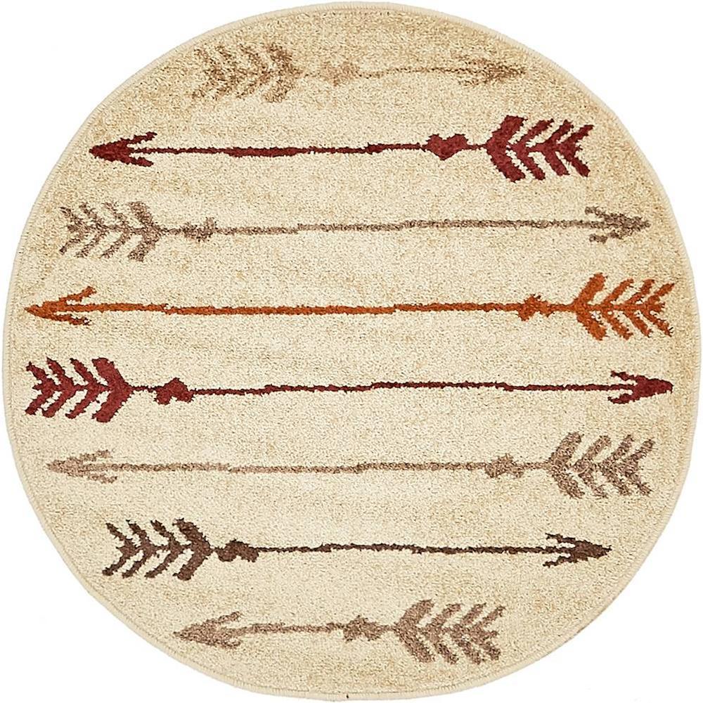 Autumn Arrow Beige 3' 3 x 3' 3 Round Rug