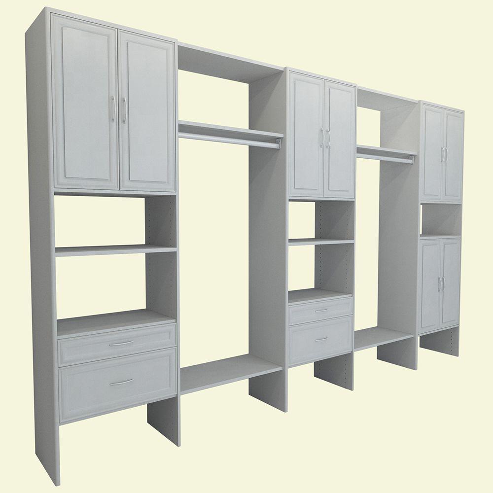 10 ft. to 14 ft. 14.57 in. D x 148 in. W x 83 in. H White Mudroom Wood Closet System