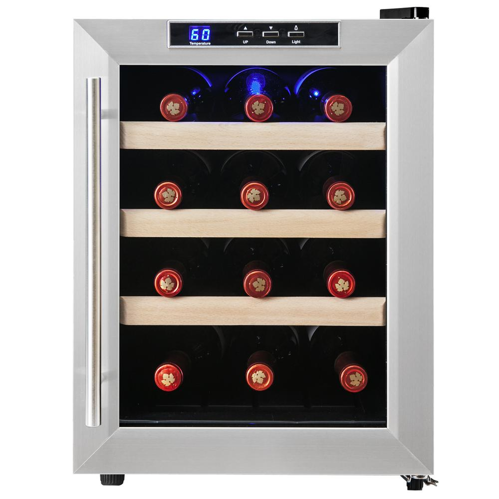 12 Bottle Wine Fridge Part - 18: AKDY 12-Bottle Single Zone Thermoelectric Wine Cooler In Stainless Steel  With Wooden Shelves