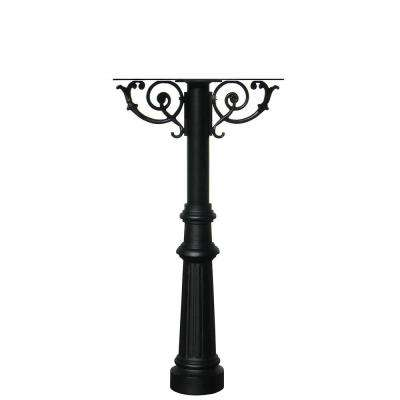 Hanford Twin Black Post Mounted Mailbox System with Decorative Scroll Supports and Fluted Base