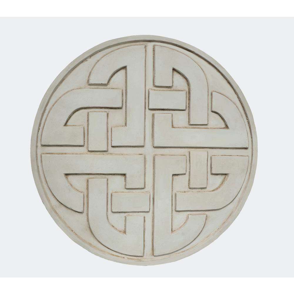 18 in. D x 1 in. H Aged White Composite Celtic