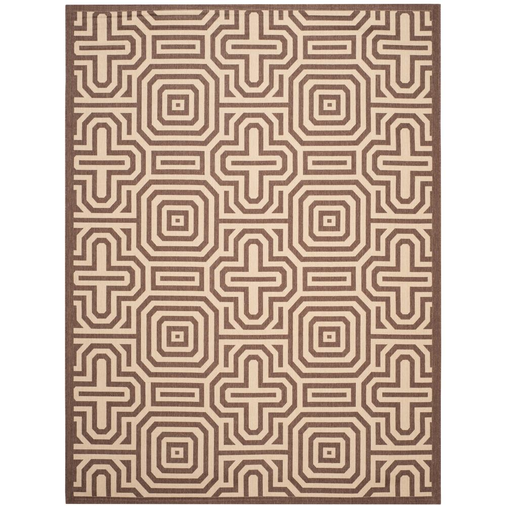 Courtyard Chocolate/Natural 8 ft. x 11 ft. Indoor/Outdoor Area Rug
