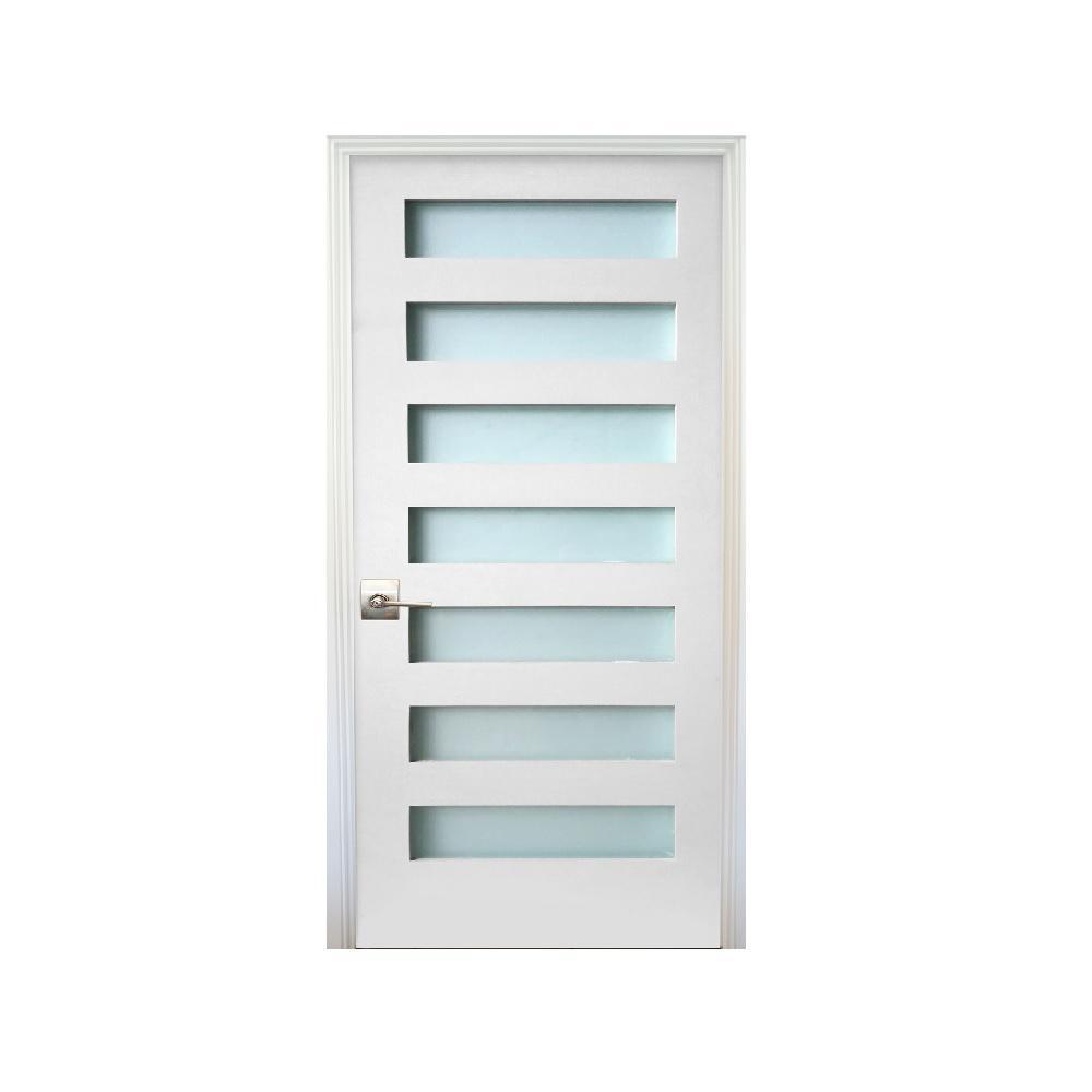 30 in. x 80 in. 7-Lite Satin Etch Primed Left-Handed Solid Core MDF Single Prehung Interior Door