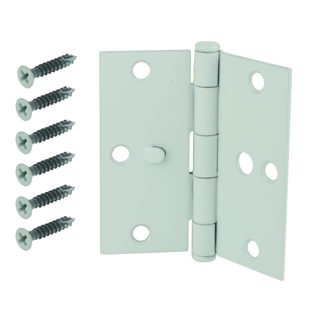 white square corner security door hinge
