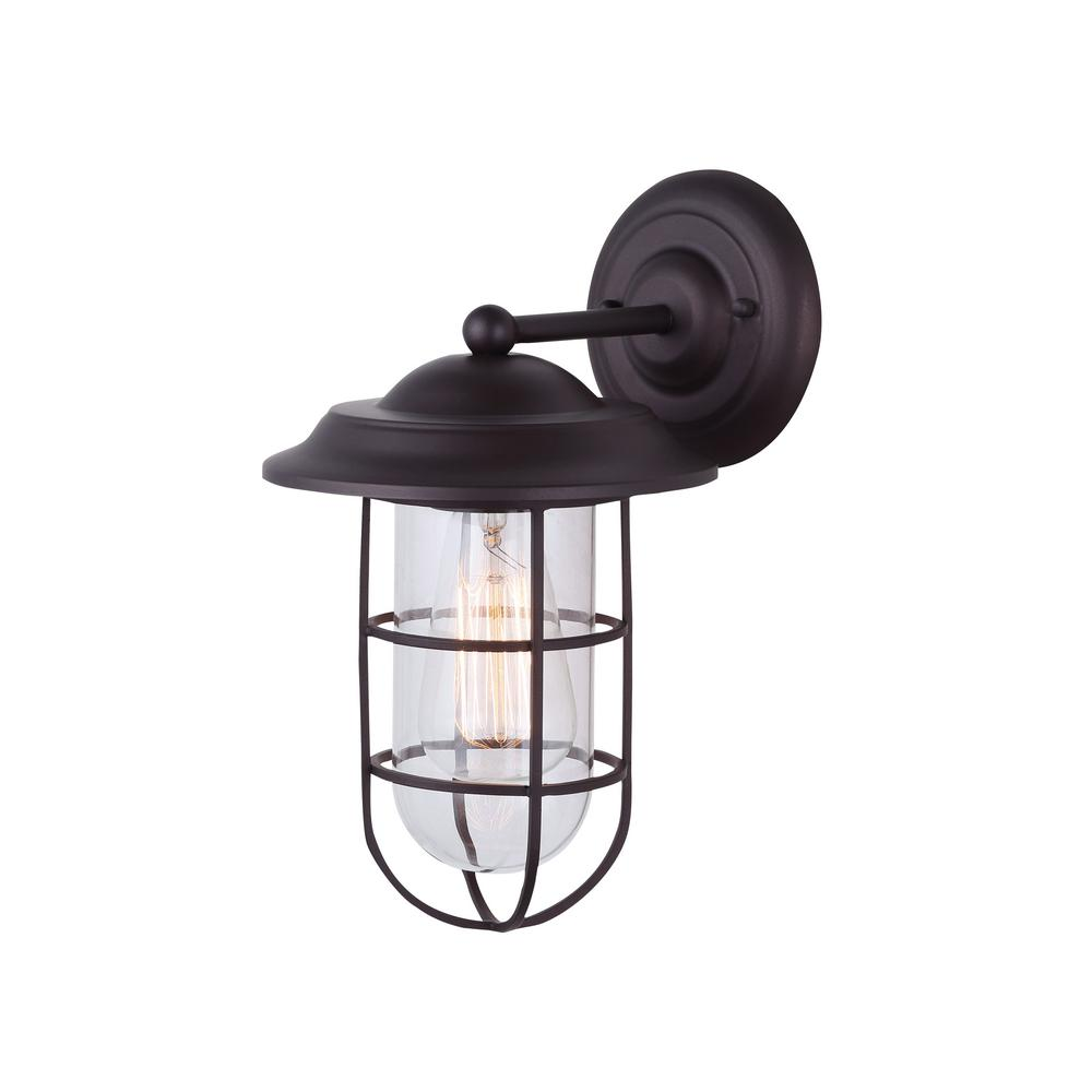 Bayard 1 light oil rubbed bronze outdoor wall light with wire cage