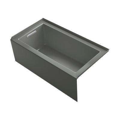Underscore 60 in. Rectangular Alcove left Drain Bathtub in Thunder Grey
