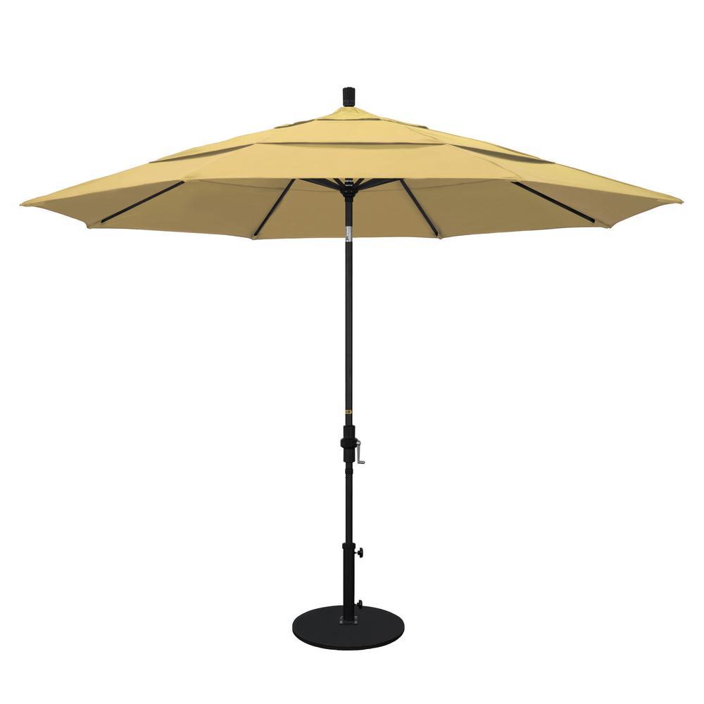 11 ft. Stone Black Aluminum Market Patio Umbrella with Crank Lift Collar Tilt in Wheat Sunbrella