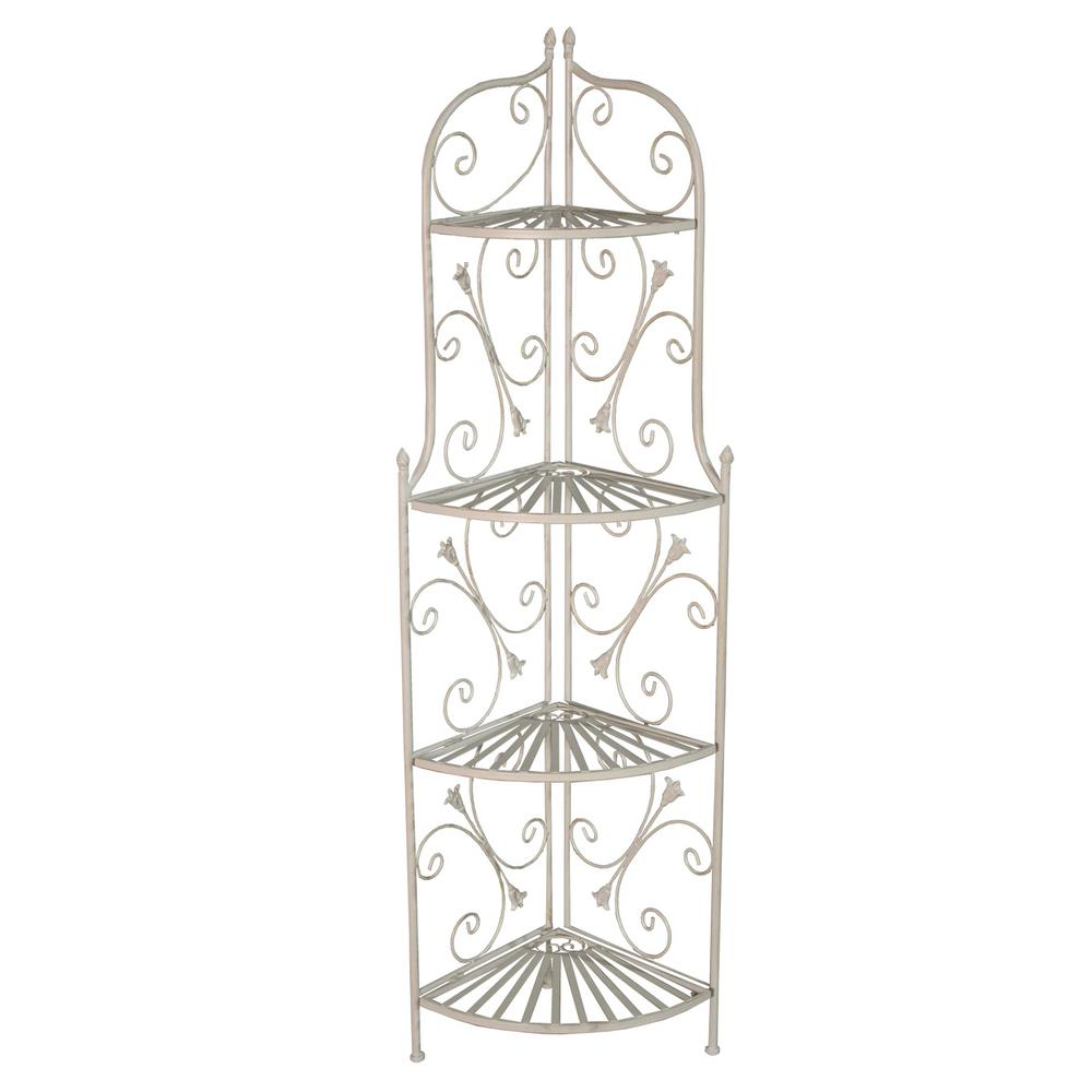 Antique Cream Foldable Corner Iron and Steel Ornate Outdoor Indoor Patio