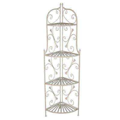 Antique Cream Foldable Corner Iron and Steel Ornate Outdoor Indoor Patio Porch Garden Plant Shelf Bakers Rack (4-Level)