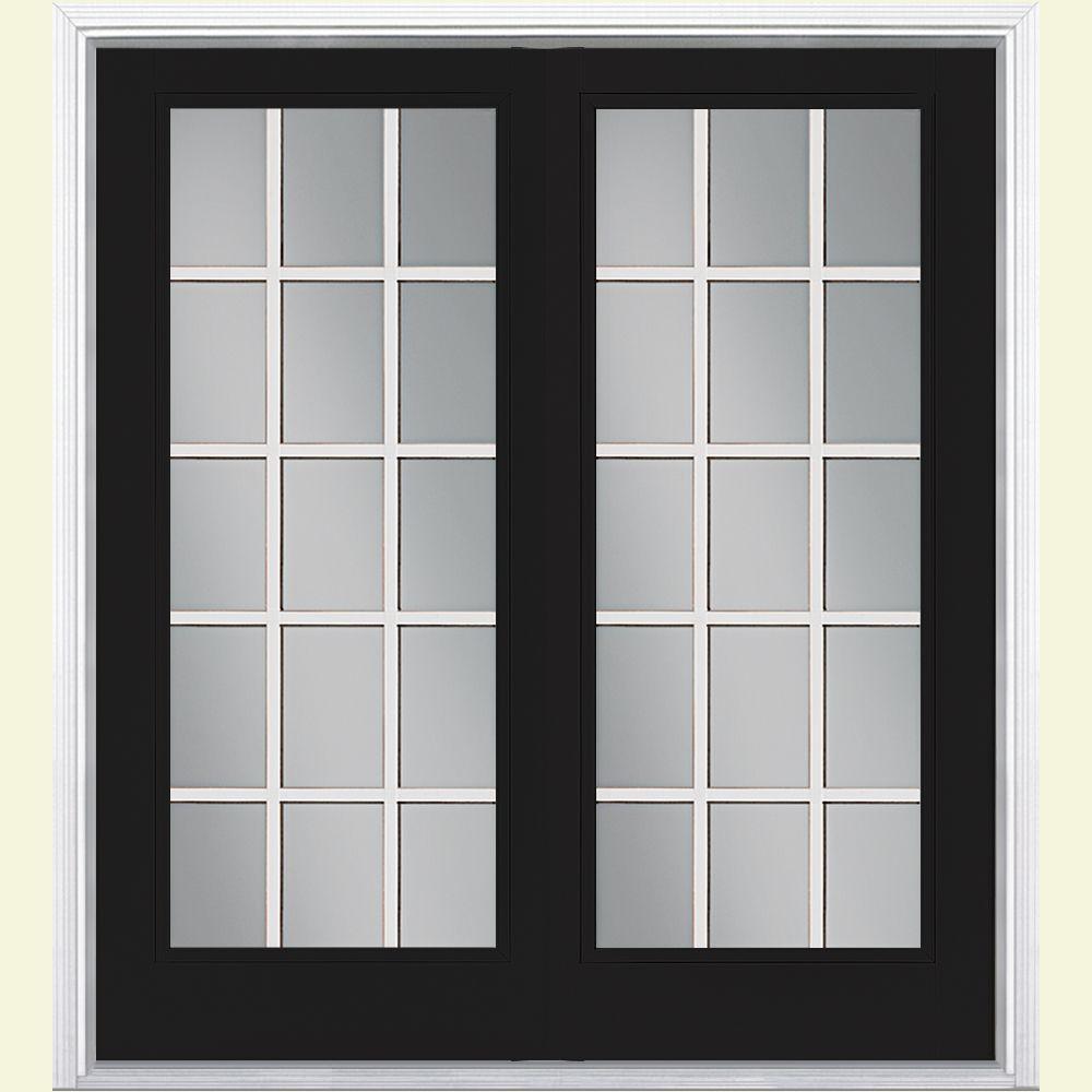 Masonite 72 in. x 80 in. Jet Black Steel Prehung Left-Hand Inswing 15-Lite Clear Glass Patio Door with Brickmold