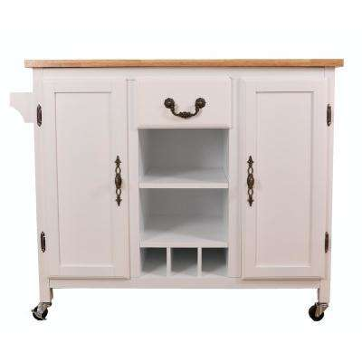 White Large Wooden Kitchen Island Trolley with Heavy Duty Rolling Casters