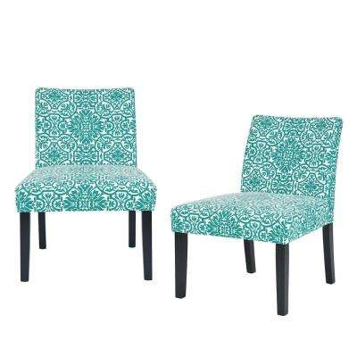 Nate Turquoise Green Damask Side Chairs (Set of 2)