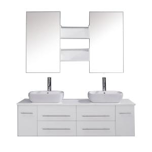 Virtu USA Augustine 60 inch Double Basin Vanity in White with Stone Vanity Top in White with White Basin and Mirror by Virtu USA
