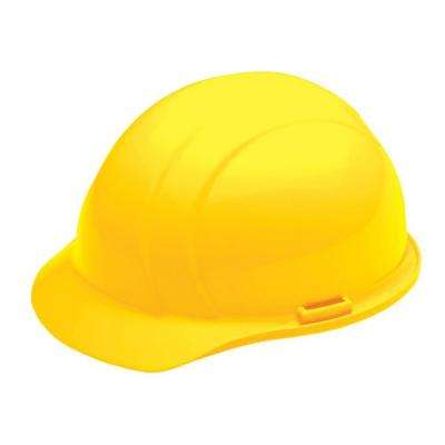 4 Point Plastic Suspension Slide-Lock Cap Hard Hat in Yellow