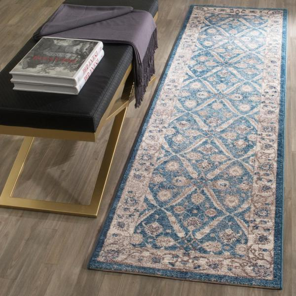 Safavieh Sofia Blue Beige 2 Ft X 6 Ft Runner Rug Sof378c 26 The Home Depot