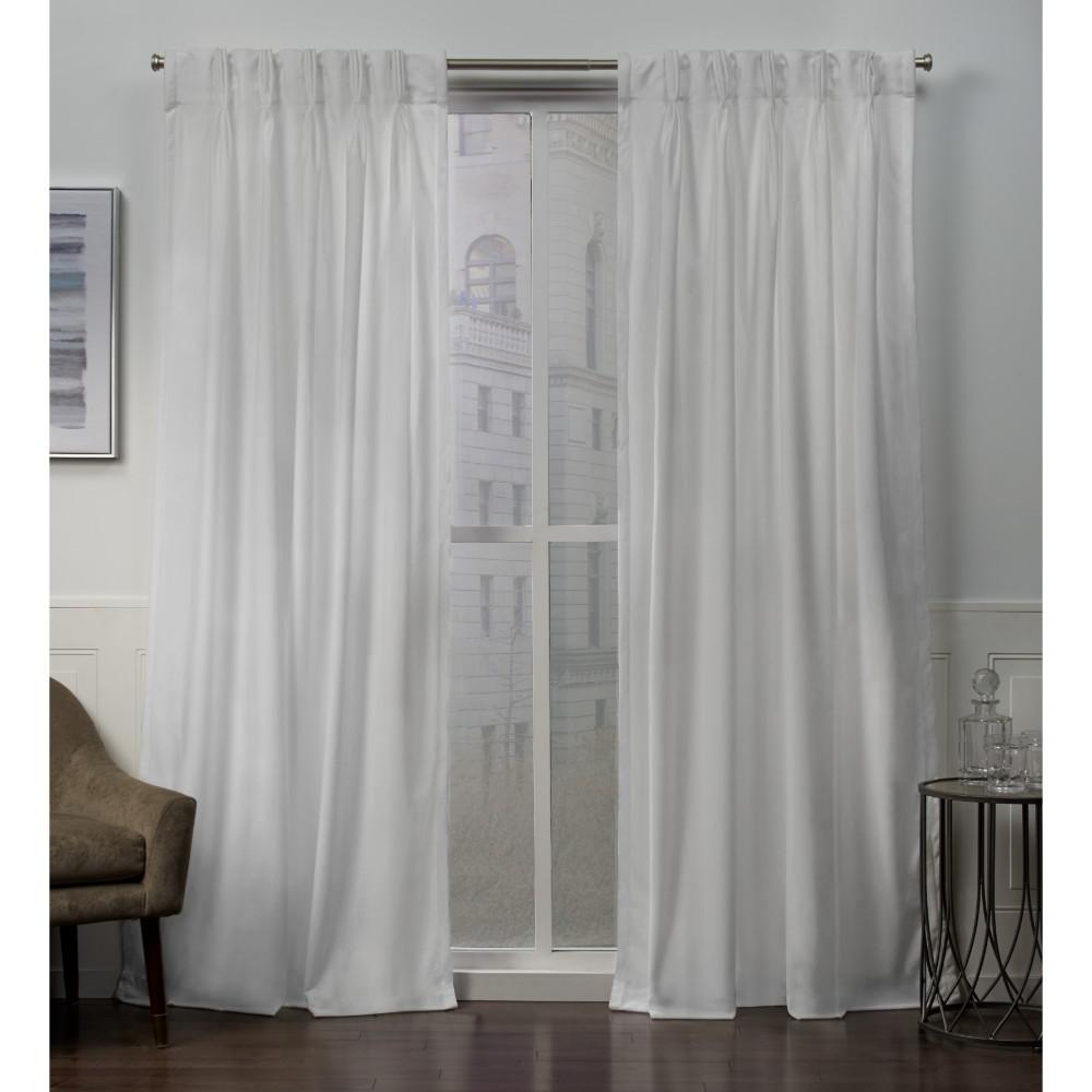 L Velvet Pinch Pleat Top Curtain Panel In Winter White 2 Panels
